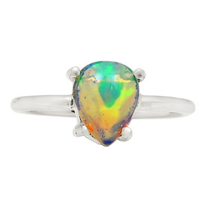Ethiopian Opal 925 Sterling Silver Ring Jewelry s.6.5 24331R