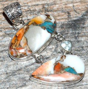 Spiny Oyster & Arizona Turquoise 925 Sterling Silver Pendant Jewelry JJ10414