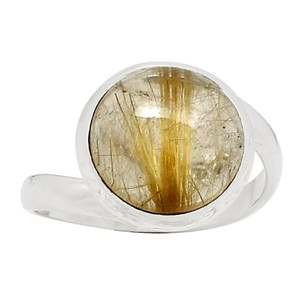 Golden Rutile 925 Sterling Silver Ring Jewelry s.9 25721R