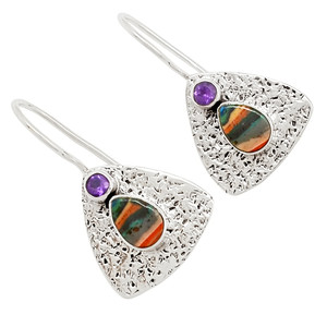 Rainbow Calsilica & Amethyst 925 Sterling Silver Earrings Jewelry 25900E