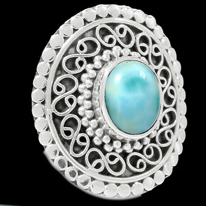 Artisan - Larimar 925 Sterling Silver Ring Jewelry s.5.5 RR162867