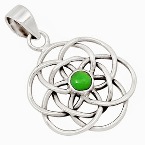 Celtic Flower - Mohave Green Turquoise 925 Silver Pendant Jewelry 26295P