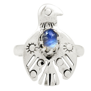 American Eagle - Moonstone 925 Sterling Silver Ring Jewelry s.8.5 24939R