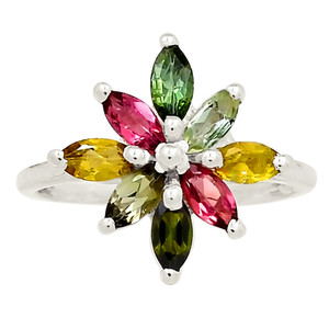 Natural Multi Tourmaline Cluster 925 Sterling Silver Ring Jewelry s.6 25266R