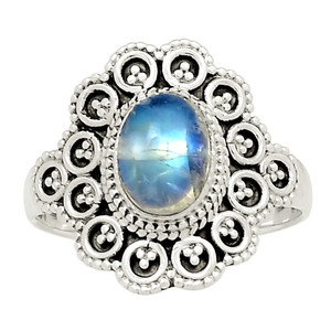 Bali Design - Moonstone 925 Sterling Silver Ring Jewelry s.8 24958R