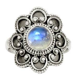 Bali Design - Moonstone 925 Sterling Silver Ring Jewelry s.8 24960R