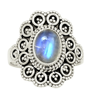 Bali Design - Moonstone 925 Sterling Silver Ring Jewelry s.6 24956R
