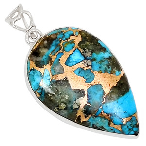 Rare Ithaca Peak Turquoise 925 Sterling Silver Pendant  Jewelry 26575P
