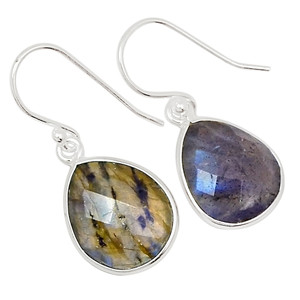 Faceted Labradorite 925 Sterling Silver Earrings Jewelry 27366E