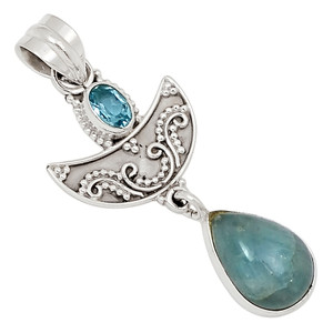 Aquamarine & Blue Topaz 925 Sterling Silver Pendant Jewelry 27278P