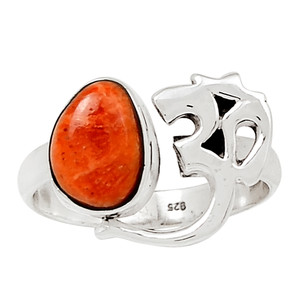 Om - Coral 925 Sterling Silver Ring Jewelry s.7 27134R
