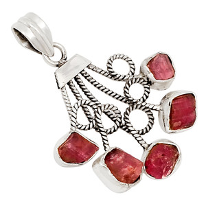 Pink Tourmaline Crystal 925 Sterling Silver Pendant Jewelry 26961P