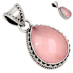 Faceted Rose Quartz 925 Sterling Silver Pendant  Jewelry 26546P