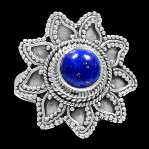 Bali Design - Lapis 925 Sterling Silver Ring Jewelry s.7 RR200697
