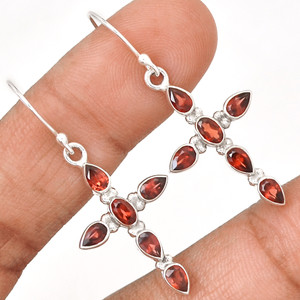 Cross - Garnet 925 Sterling Silver Earrings Jewelry EE177771