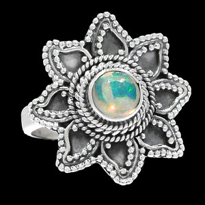 Bali Design - Ethiopian Opal 925 Sterling Silver Ring Jewelry s.8 RR200716