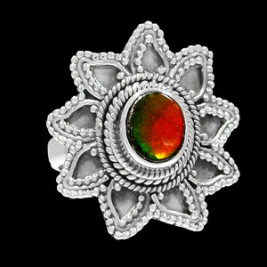 Bali Design - Genuine Canadian Ammolite 925 Silver Ring Jewelry s.7 RR200712