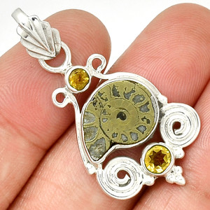 """Owl - """"Fossil"""" Ammonite & Citrine 925 Sterling Silver Pendant Jewelry PP208190"""