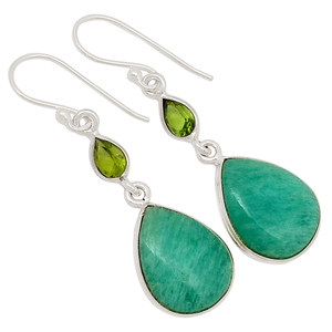 Amazonite & Peridot 925 Sterling Silver Earrings Jewelry 27955E