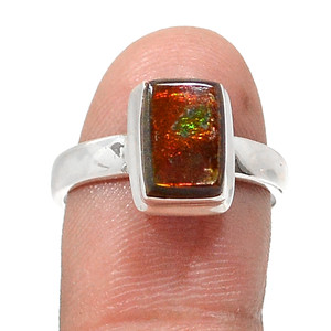 Canadian Ammolite 925 Sterling Silver Rings Jewelry s.7 RR201566