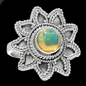Bali Design - Ethiopian Opal 925 Sterling Silver Ring Jewelry s.9 RR200690
