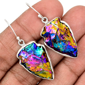 ArrowHead Titanium Quartz 925 Sterling Silver Earrings Jewelry SSS AHTE32