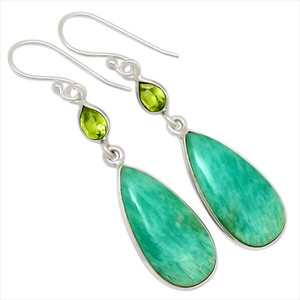 Amazonite & Peridot 925 Sterling Silver Earrings Jewelry 27959E