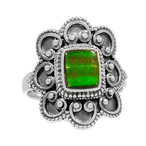 Bali Design - Canadian Ammolite 925 Sterling Silver Ring Jewelry s.7 RR190682