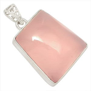 12g Rose Quartz 925 Sterling Silver Pendant Jewelry 27618P