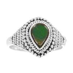 Bali Design - Genuine Canadian Ammolite 925 Silver Ring Jewelry s.8 RR192030
