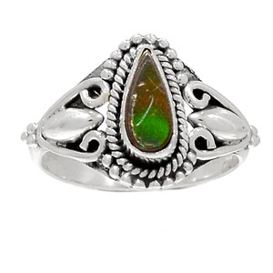Artisan - Genuine Canadian Ammolite 925 Silver Ring Jewelry s.6 RR200211