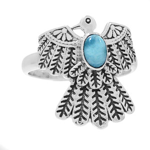 American Eagle - Larimar 925 Sterling Silver Ring Jewelry s.9 RR202934