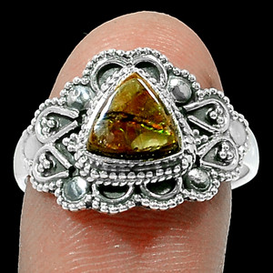 Bali Design - Canadian Ammolite 925 Sterling Silver Ring Jewelry s.9 RR185189