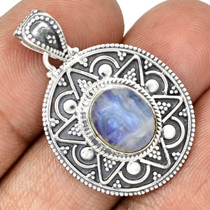 Bali Design - Carved Face - Rainbow Moonstone 925 Silver Jewelry PP181981