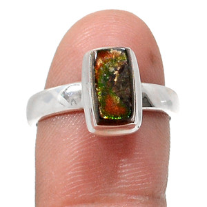 Canadian Ammolite 925 Sterling Silver Rings Jewelry s.7 RR201591