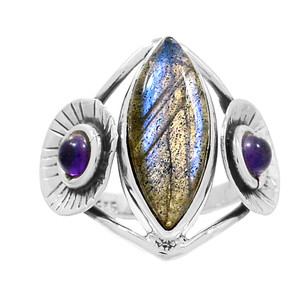 Labradorite & Amethyst 925 Sterling Silver Ring Jewelry s.9 RR204169