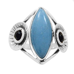 Angelite & Black Onyx 925 Sterling Silver Ring Jewelry s.9 RR204158