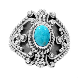 Bali Design - Sleeping Beauty Turquoise 925 Silver Ring Jewelry s.7.5 RR200761