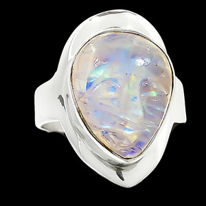 Balinese Goddess Carved Face - Rainbow Moonstone 925 Silver Ring s.7 RR221714