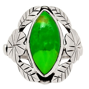 Leaves - Mohave Green Turquoise 925 Sterling Silver Ring Jewelry s.6.5 29119R