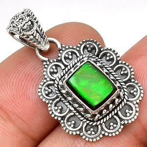 Bali Design - Canadian Ammolite 925 Sterling Silver Pendant Jewelry AP1371