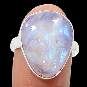 Balinese Goddess Carved Face - Rainbow Moonstone Silver Ring s.7.5 RR221686