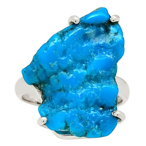 Sleeping Beauty Turquoise Rough 925 Sterling Silver Ring Jewelry s.7.5 29105R