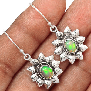 Ethiopian Opal 925 Sterling Silver Earrings Jewelry EE175921