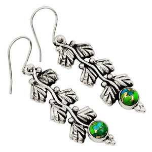 Blue Turquoise In Green Mohave 925 Sterling Silver Earrings Jewelry 28918E