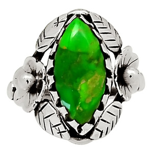 Bali Design - Mohave Green Turquoise 925 Sterling Silver Ring Jewelry s.8 29042R