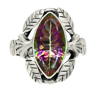 Leaves - Rainbow Topaz 925 Sterling Silver Ring Jewelry s.7 28362R