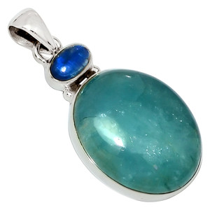 Aquamarine & Kyanite 925 Sterling Silver Pendant Jewelry 28037P