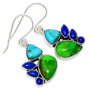 Mohave Green Turquoise & Lapis 925 Sterling Silver Earrings Jewelry 28279E