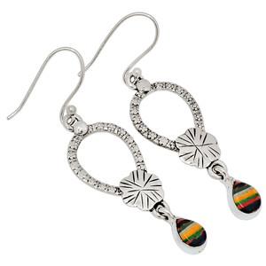 Rainbow Calsilica 925 Sterling Silver Earrings Jewelry 28864E